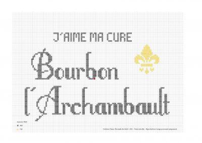 Point de croix – «J'aime ma cure à Bourbon»